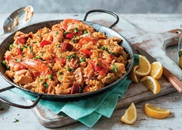 Spanish Night in Welburn at The Crown & Cushion - A big pan of paella.