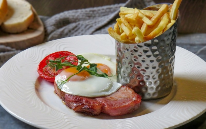 Food at The Crown & Cushion Welburn - The Scrumptious Seven - Bacon Chops and eggs